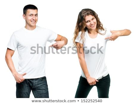 femenino · blanco · camisa · jóvenes · hermosa - foto stock © sumners