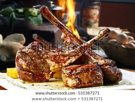 bárány · kotlett · saláta · bor · hús · paradicsom - stock fotó © m-studio