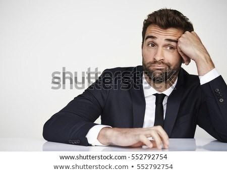Człowiek biznesu nudzić patrząc odizolowany działalności okulary Zdjęcia stock © fuzzbones0