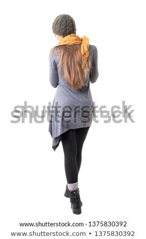 genç · sarışın · kız · saç · gri · eller - stok fotoğraf © fotoduki