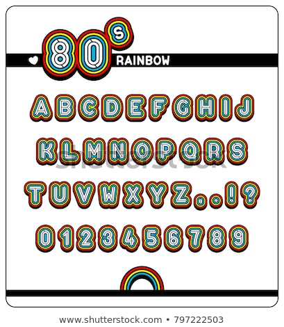 Complete alphabet and numbers in 80s Rainbow Font Stock photo © adrian_n