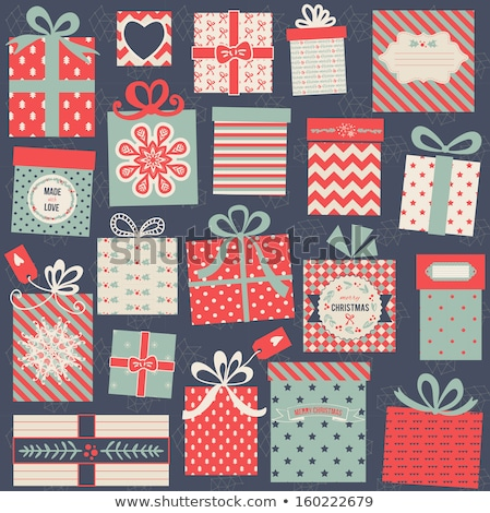 Greeting Cards with Wrapped Gift Boxes, Snowflakes Stock photo © robuart