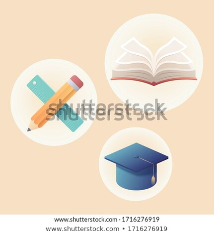 Book in Yellow Cover with Academic Cap Vector Stock photo © robuart