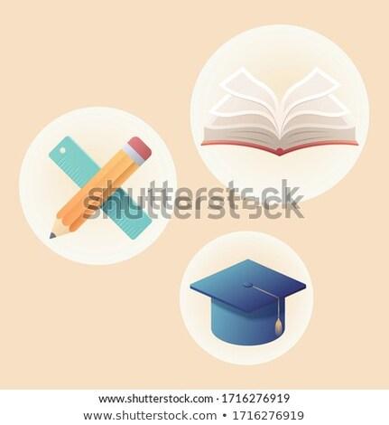 Książki żółty okładka akademicki cap wektora Zdjęcia stock © robuart