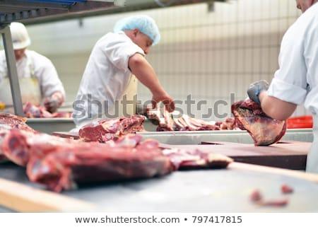 mão · açougueiro · carne · faca · homem - foto stock © kzenon