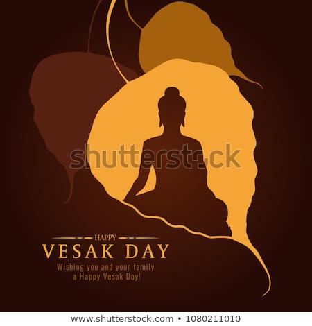 Feliz día tarjeta Buda árbol ilustración Foto stock © cienpies