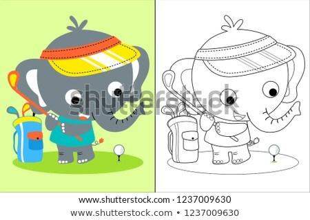 rajz · elefánt · játszik · golf · illusztráció · klub - stock fotó © bennerdesign