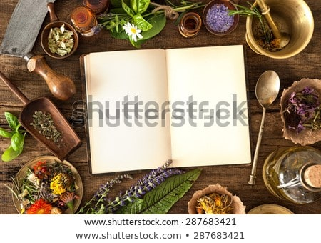 Natural remedy, mortar and herbs, space for your text  Stock photo © JanPietruszka