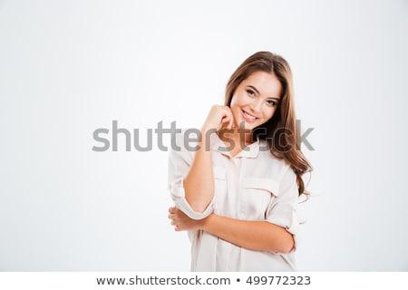 Gyönyörű nő mosolyog kamera izolált fehér néz Stock fotó © ElinaManninen
