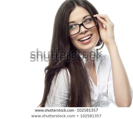 uśmiechnięty · kobieta · interesu · schowek · pióro · działalności · edukacji - zdjęcia stock © forgiss