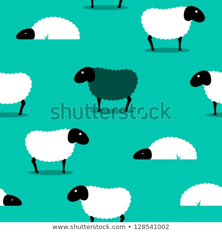 Black sheep amongst white sheep tile background Stock photo © adrian_n