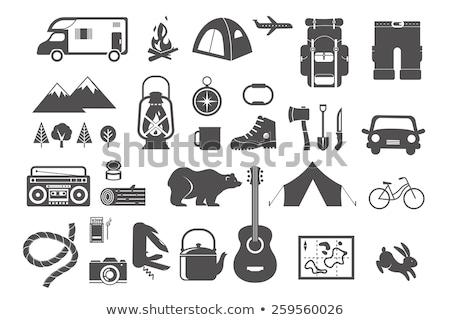 Matrica szett kempingezés felszerelések illusztráció háttér Stock fotó © bluering