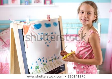 Festmény hét éves gyerek papír fa nap Stock fotó © rufous