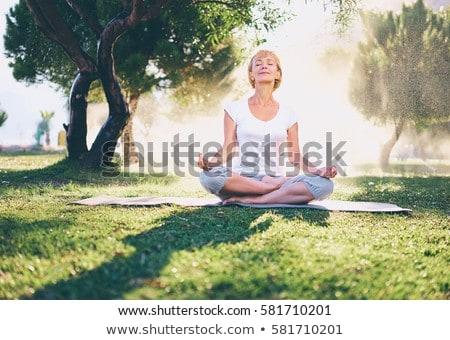 Supérieurs femme Lotus posent séance herbe verte Photo stock © boggy