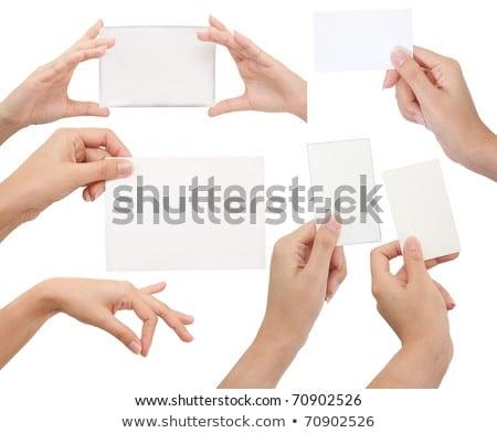 Isolado cartão mão branco negócio escritório Foto stock © Suriyaphoto
