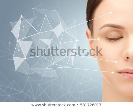 Bela mulher baixo forma projeção beleza tecnologia Foto stock © dolgachov