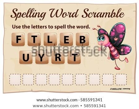 Yazım kelime oyun şablon kelebek örnek Stok fotoğraf © colematt