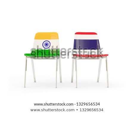 Two chairs with flags of India and thailand Stock photo © MikhailMishchenko