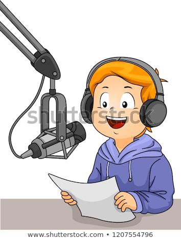 Сток-фото: Kid · мальчика · радио · вещать · иллюстрация