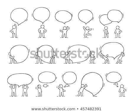 Szett emberek szöveglufi illusztráció boldog terv Stock fotó © colematt