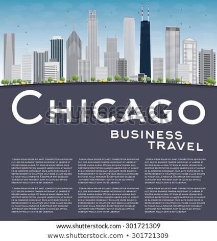 Chicago cinza arranha-céus blue sky copiar Foto stock © ShustrikS