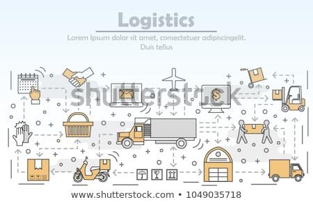 Logistics concept - line design style banners set Stock photo © Decorwithme