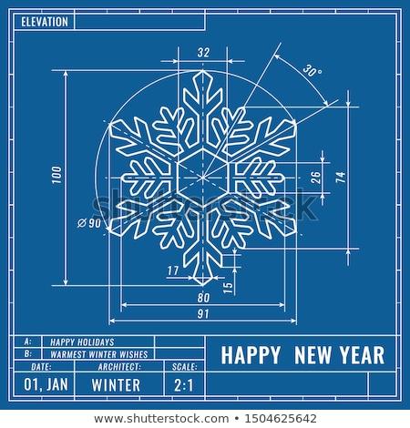 snowflake christmas blueprint stock photo © unkreatives