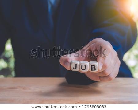 Encontrar trabalho mesa de madeira palavra escritório moda Foto stock © fuzzbones0