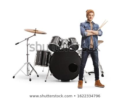 Portrait of smiling musician playing drum kit Stock photo © wavebreak_media