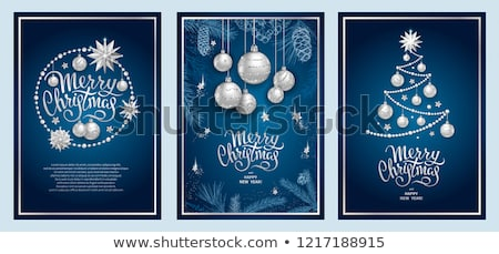 elegant blue merry christmas design with silver balls stock photo © sarts