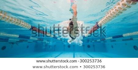 跳ね · ジャンプ · スイミングプール · 健康 · 青 · 時間 - ストックフォト © cookelma