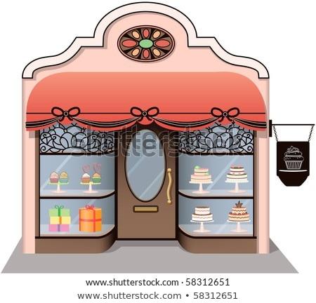 Szabadtér felirat francia torta bolt cukrászda Stock fotó © boggy