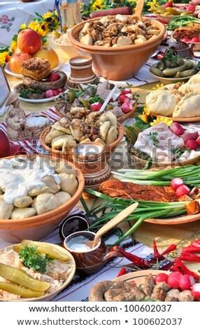 Traditioneel voedsel gerechten keuken drinken Stockfoto © furmanphoto