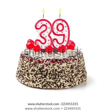 Birthday cake with burning candle number 39 Stock photo © Zerbor