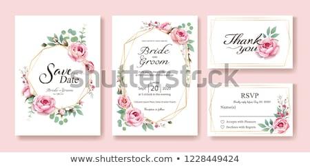 ストックフォト: バラ · フローラル · カード · フレーム · テンプレート · 文字