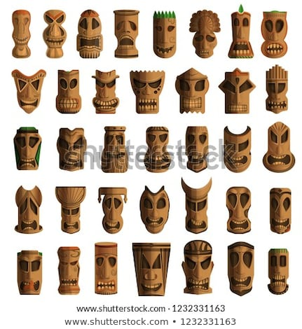 old traditional wooden totem masks Stock photo © meinzahn