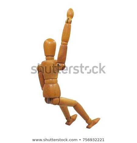 木製 小さな像 座って 手 戻る 白 ストックフォト © wavebreak_media