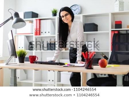 Fiatal lány számítógép asztal fektet kezek lány Stock fotó © Traimak