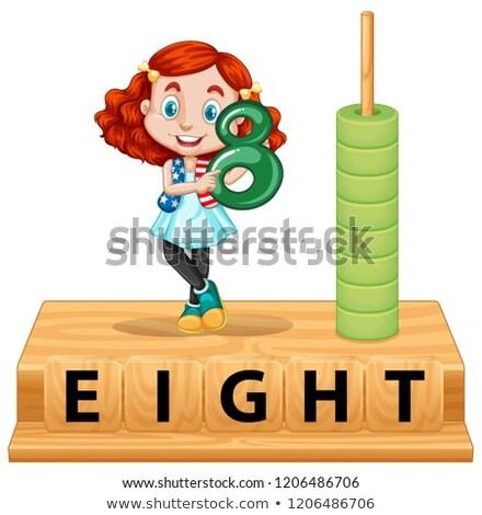 Aantal acht meisje poster illustratie achtergrond Stockfoto © bluering