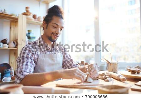 man · werken · handen · keramische · eiland - stockfoto © pressmaster