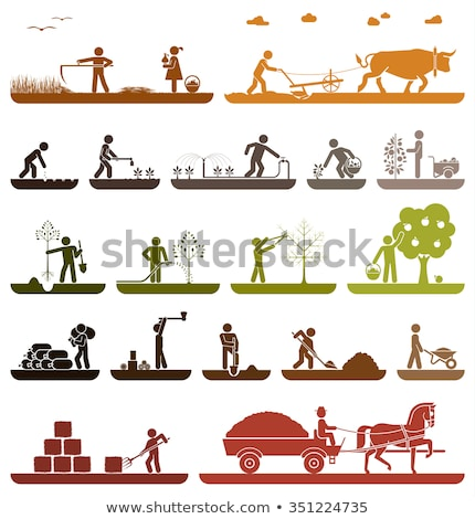 Farmer Digging Ground in Garden Cartoon Icon. Stock photo © robuart