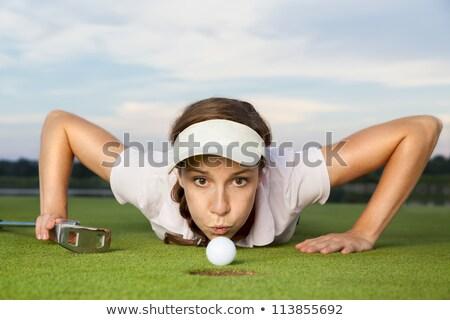 Menina jogador de golfe bola copo desesperado Foto stock © lichtmeister