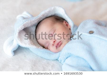 portré · baba · fiú · ágy · gyermek · kék - stock fotó © anna_om