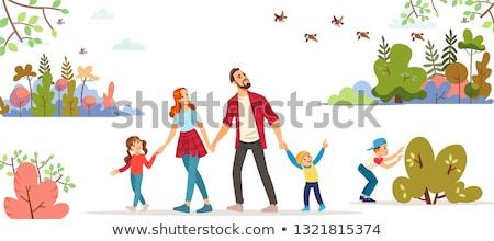 mensen · lopen · park · dating · paar · vector - stockfoto © robuart
