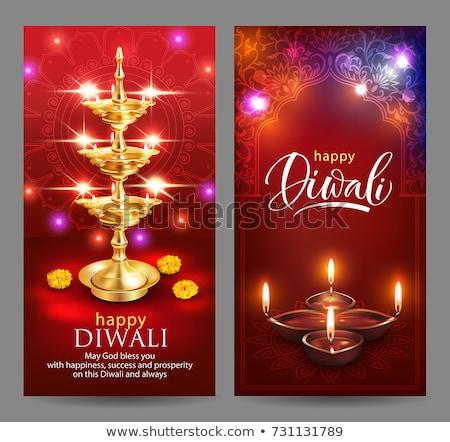 happy diwali banner of hindu diya flower candle stock photo © cienpies