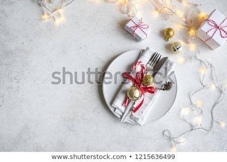 Karácsony asztal arany dekoráció felső kilátás Stock fotó © furmanphoto