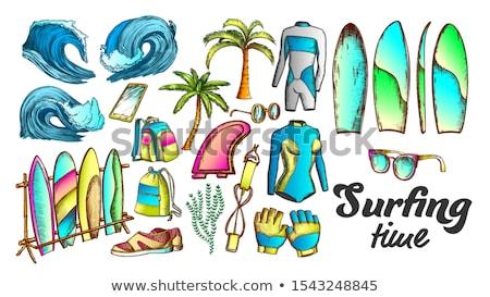 серфинга время коллекция Элементы чернила набор Сток-фото © pikepicture