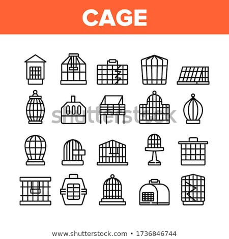 Birdcage For Domestic Parrot Monochrome Vector Stock photo © pikepicture
