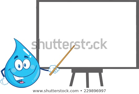 Water Drop Character Holding A Pointer Presenting On A Board. Stock photo © hittoon