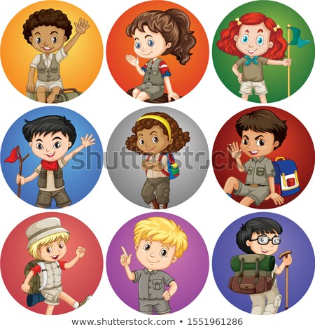 Kids in safari costume on different background Stock photo © bluering